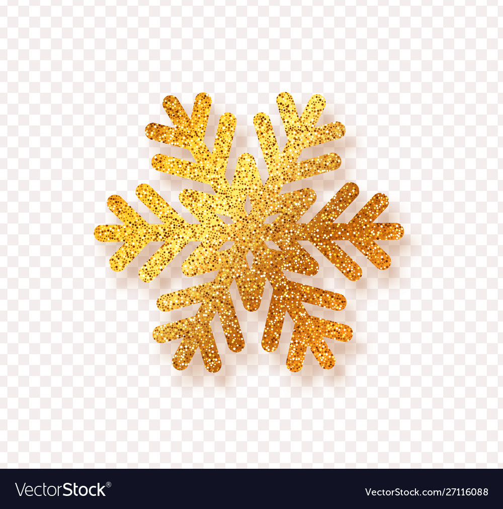 Golden snowflake with bright glitter isolated on