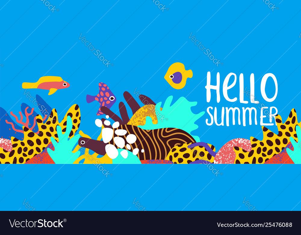 Hello summer tropical coral reef art banner