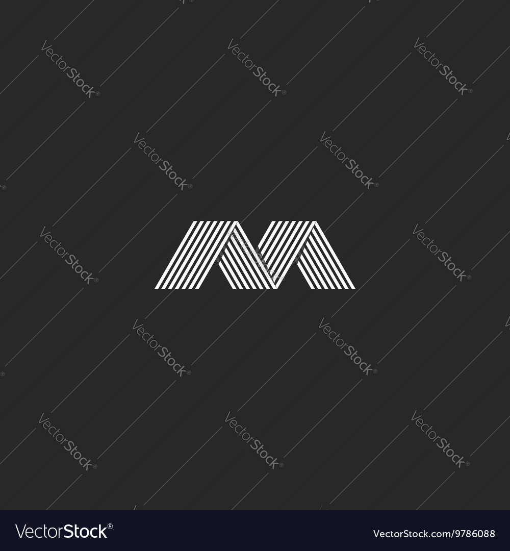 M logo simple monogram letter stylish mockup vector image