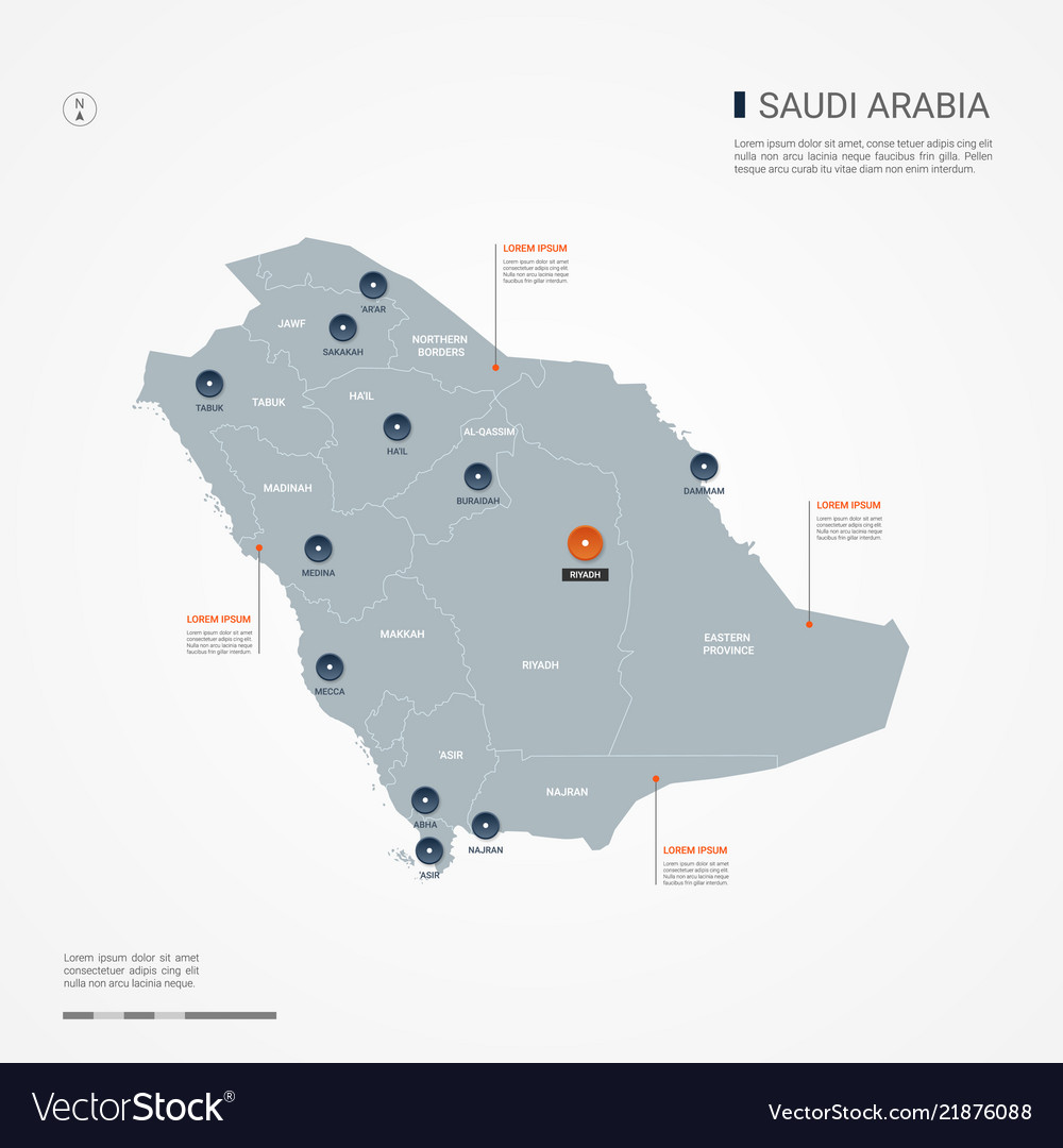 Saudi arabia infographic map Royalty Free Vector Image