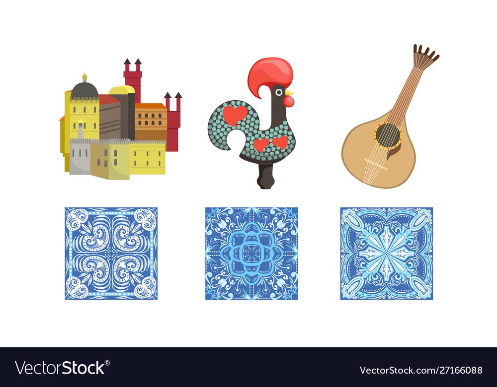 Traditional cultural portugal symbols set
