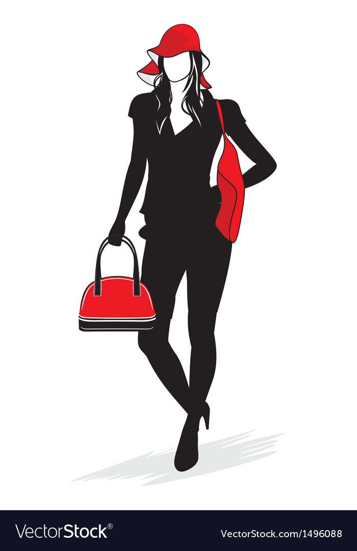 Woman shopping silhouette