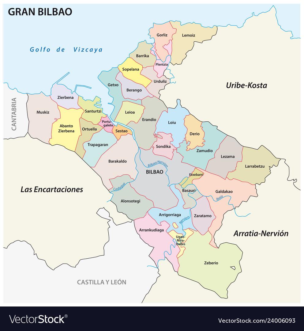 Bilbao On Map Of Spain.Bilbao Metropolitan Area Administrative Map