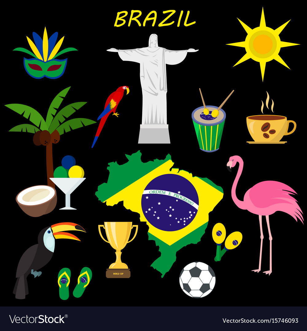 Brazil flat icon set travel and tourism concept vector image