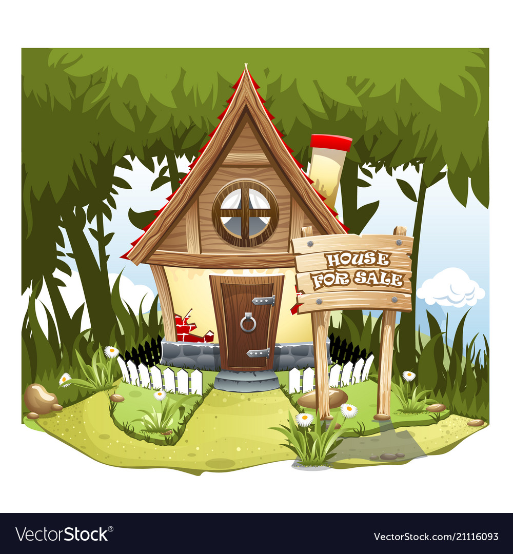 Cartoon fairy house on the edge of forest on a