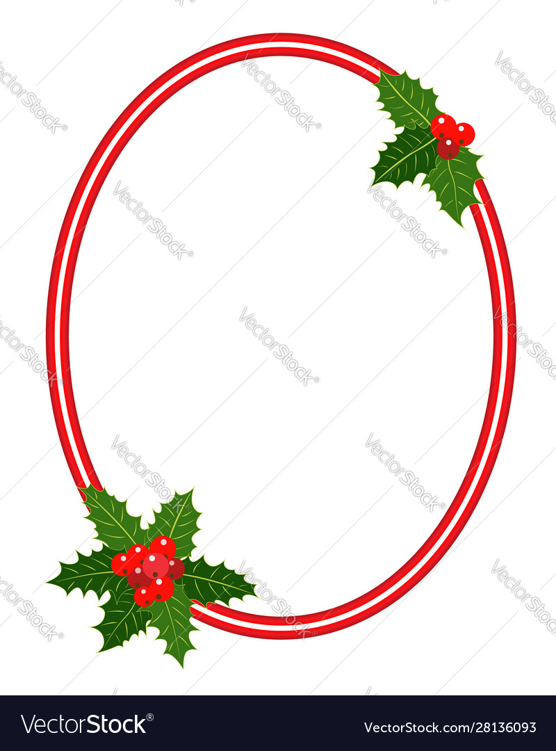 Christmas frame with holly leaves ellipse