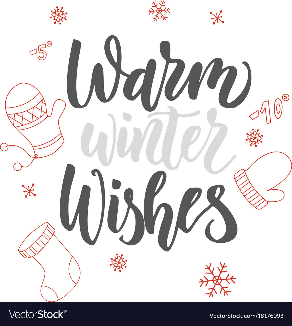 Christmas greeting card warm winter wishes hand vector image m4hsunfo