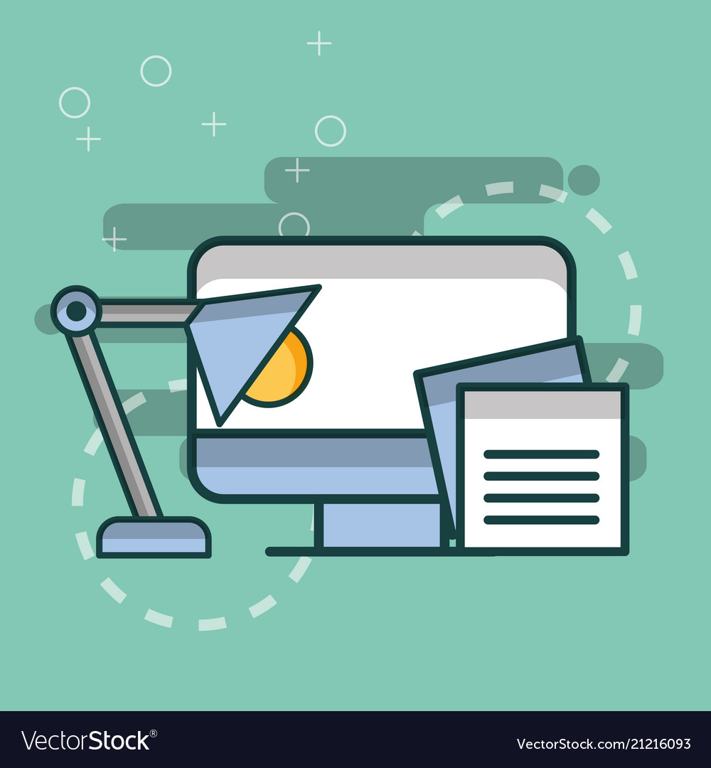 computer desk lamp paper notes office royalty free vector rh vectorstock com Computer Screen Vector Computer Search Vector