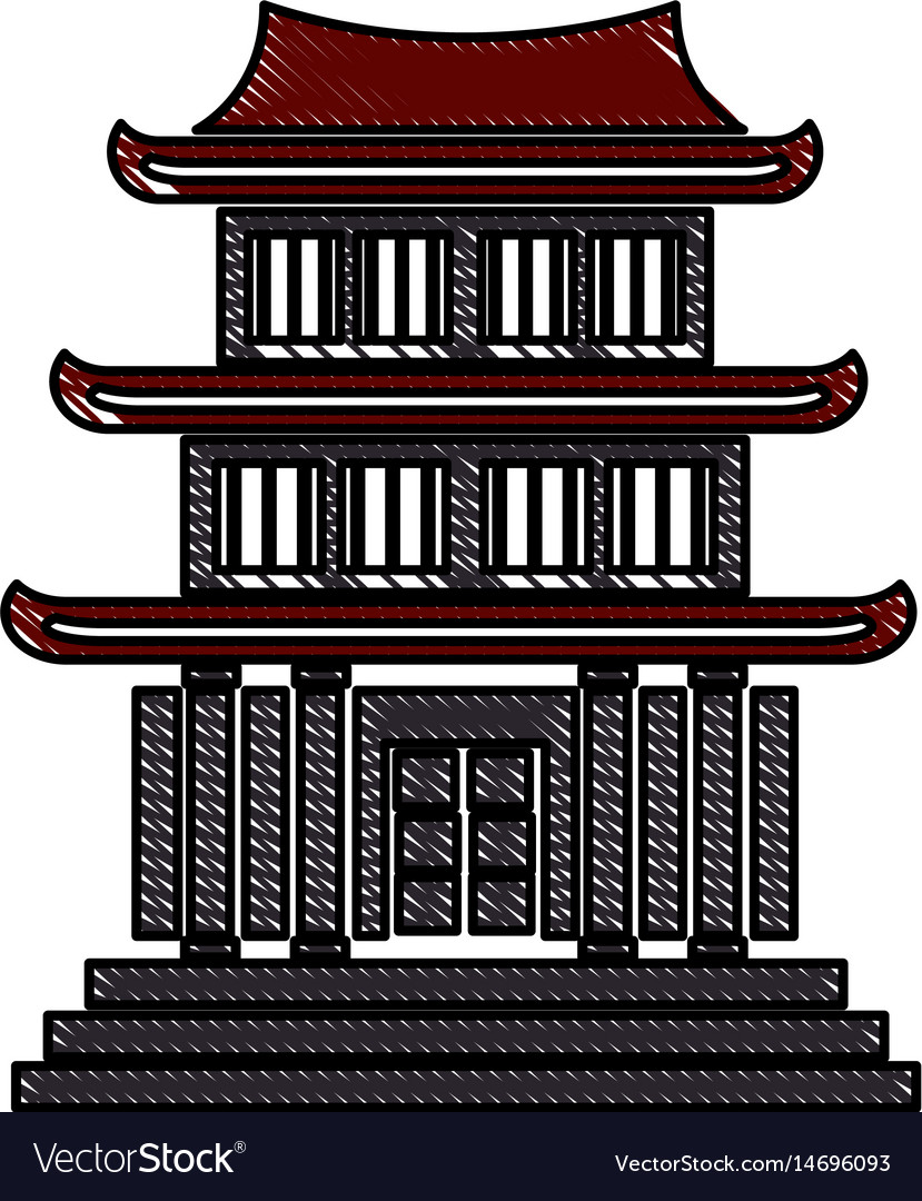 Drawing house japanese traditional chinese facade vector image