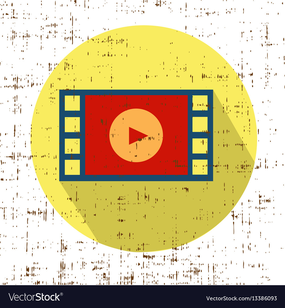 Film movie strip with play retro icon with vector image