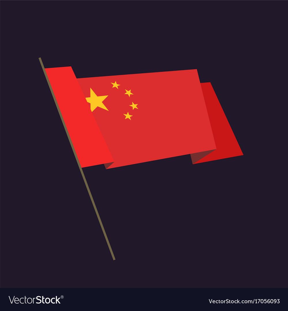 Flat style waving china flag