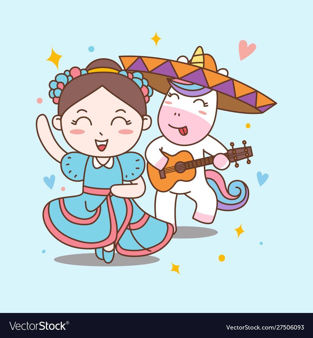 Fun girl and unicorn dance mariachi