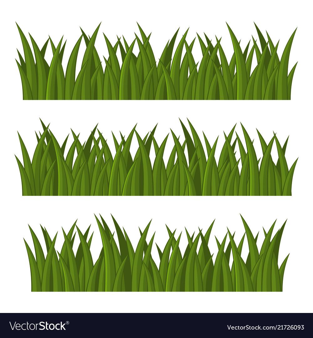 Green grass borders set on white background