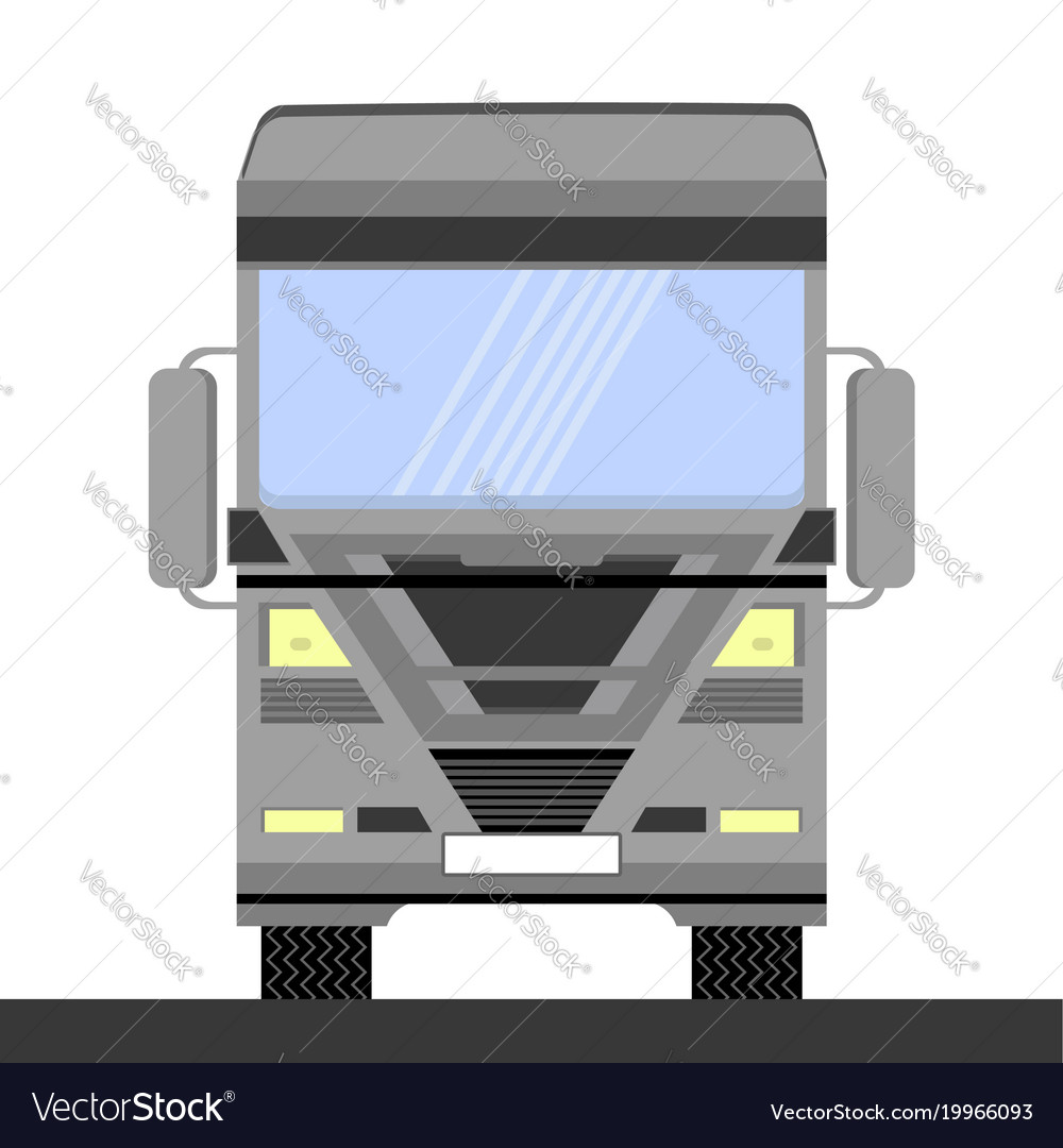 Grey container truck icon on white background