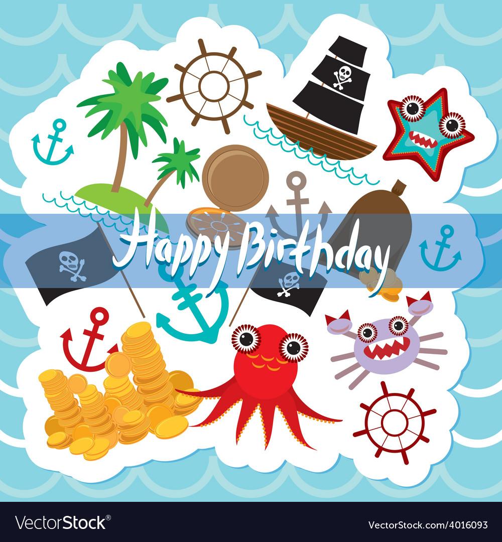 Happy Birthday Card pirate Cute party invitation