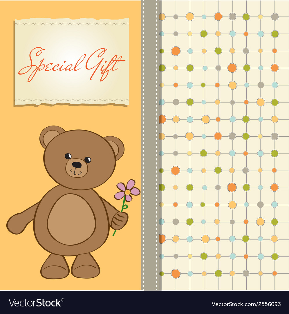 Happy birthday card with teddy bear and flower vector image izmirmasajfo