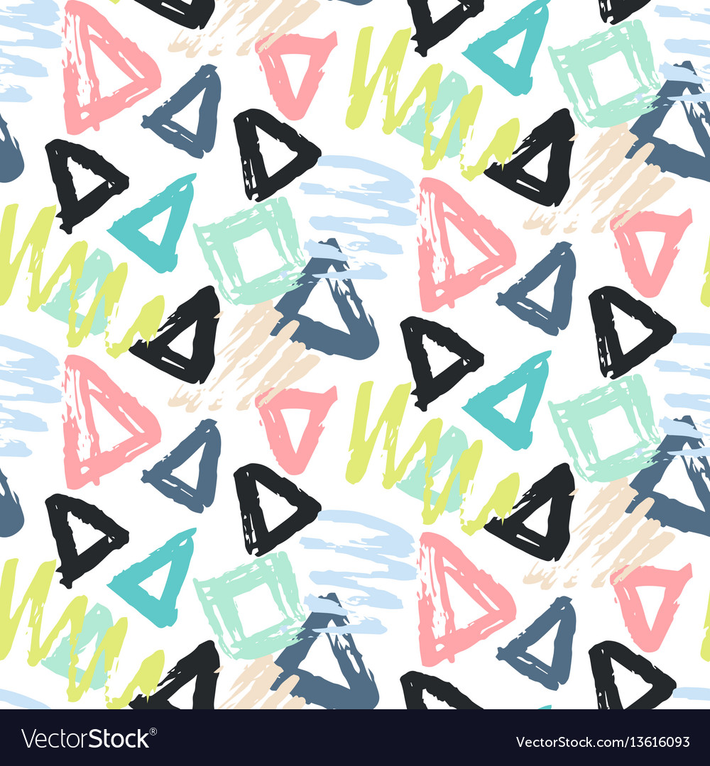 Modern seamless pattern with brush painted shapes
