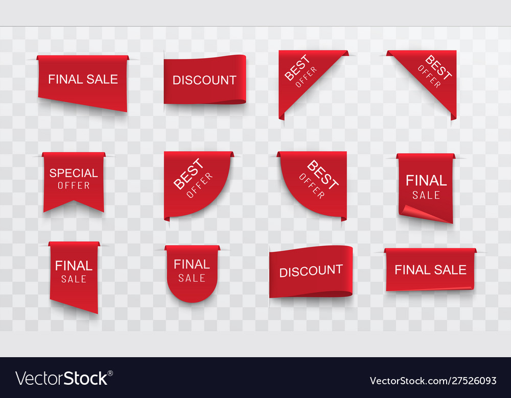 Sale stickers labels set red banners ribbons