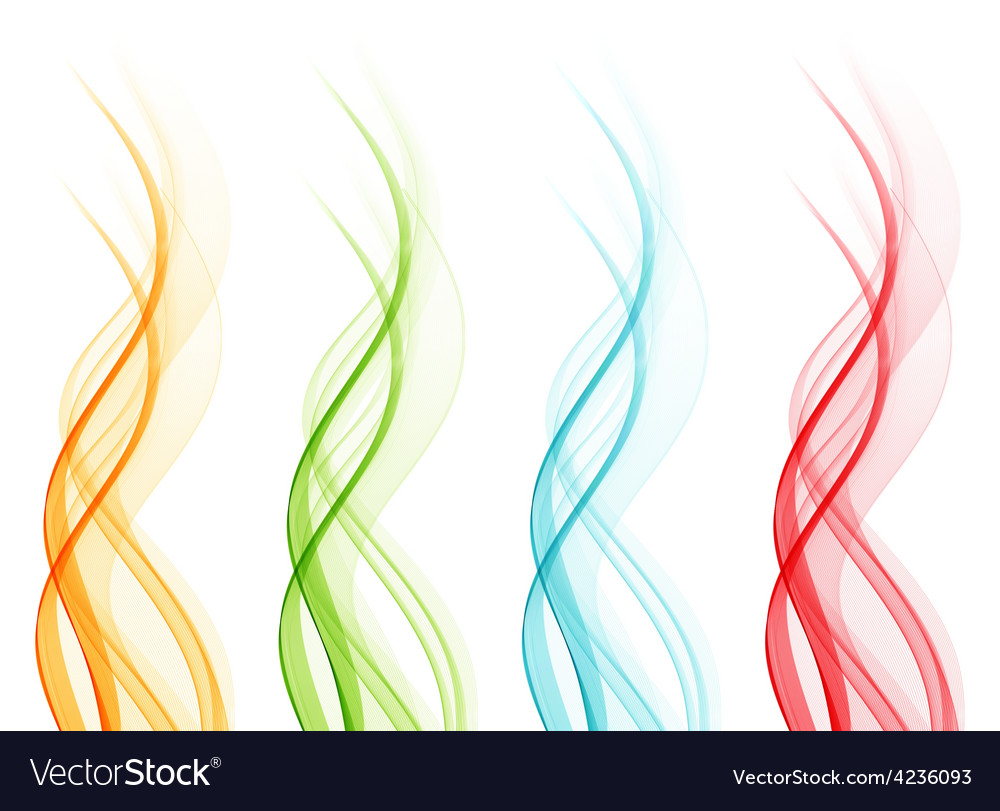 Set of abstract color wavy lines