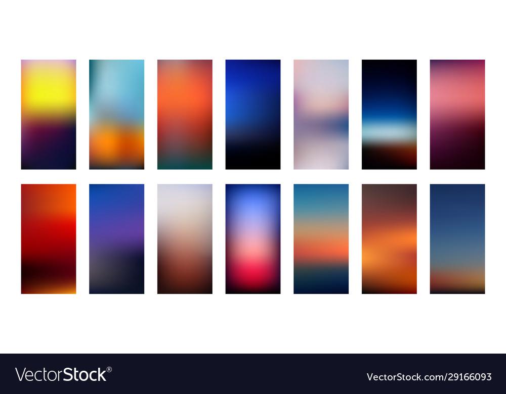 Sunset colors gradient backgrounds set