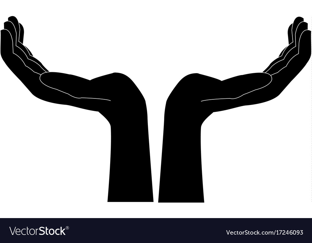 two hands support help gesture symbol royalty free vector