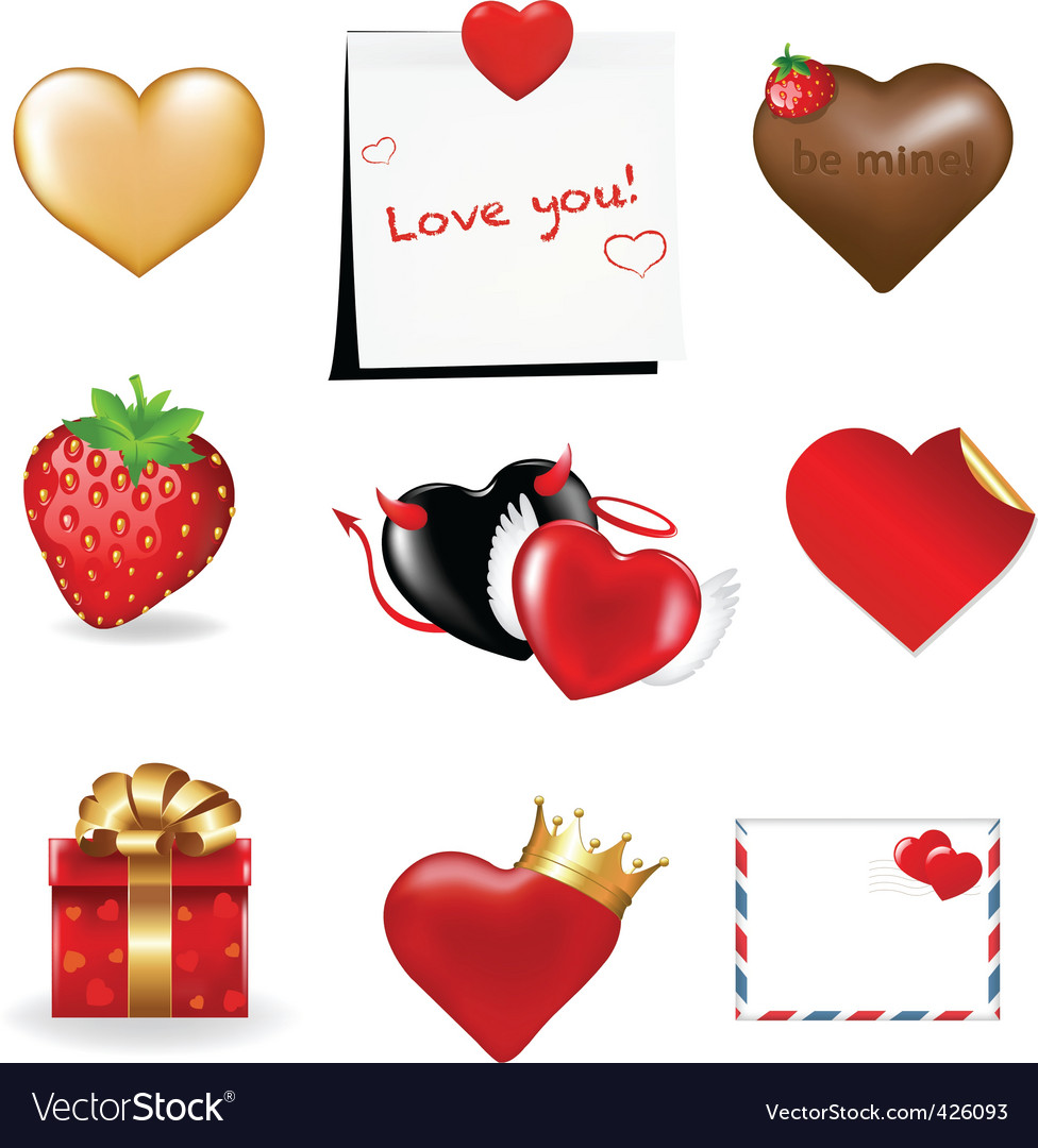 Valentines day icons collection vector image