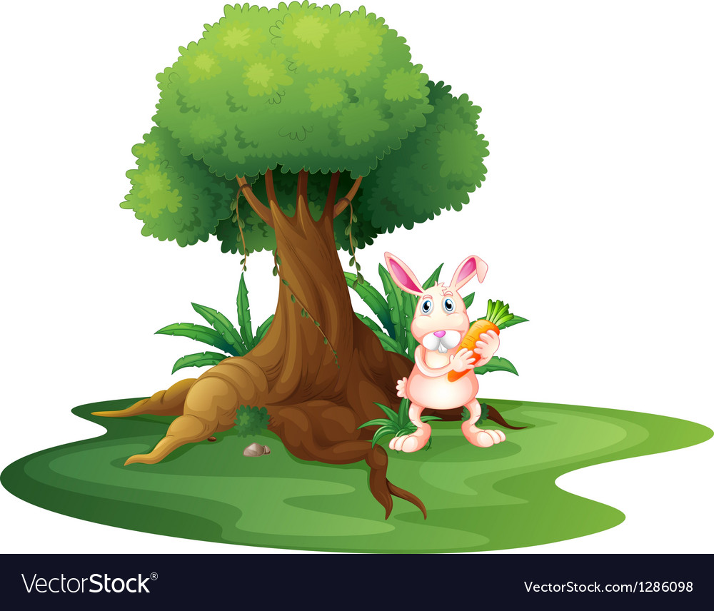 A rabbit with a carrot near the big tree vector image
