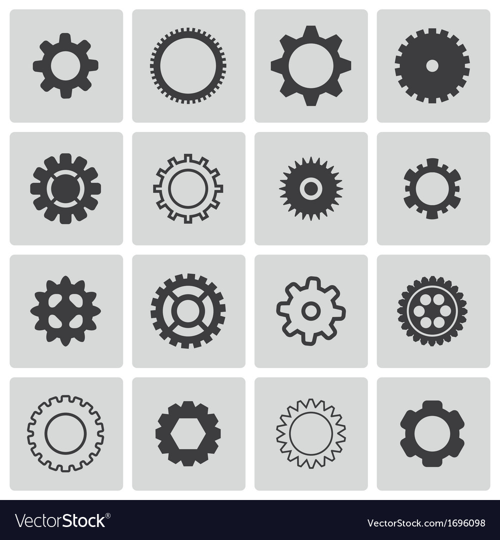 Black gears icons set