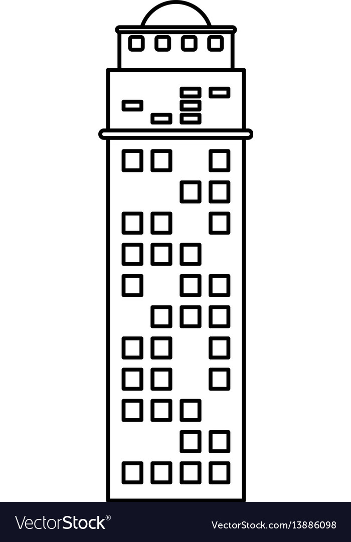 Building architecture structure skyscraper outline vector image