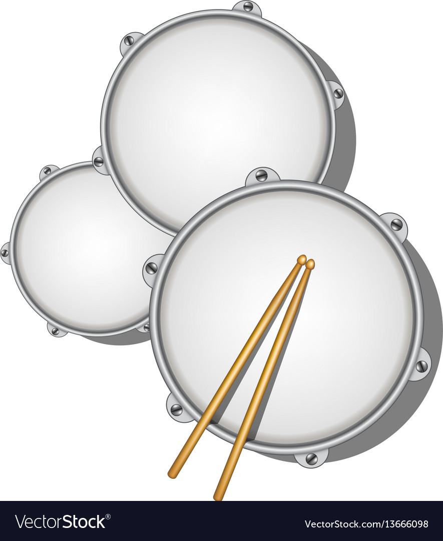 Drums and pair of wooden drumsticks