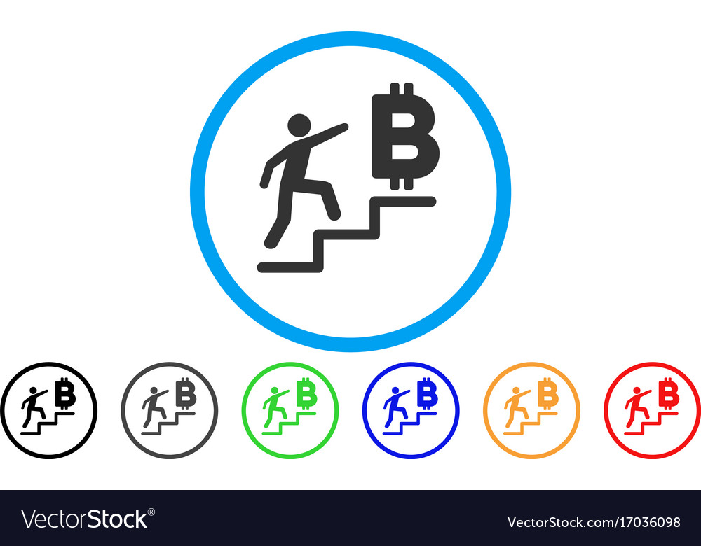 Person steps to bitcoin rounded icon