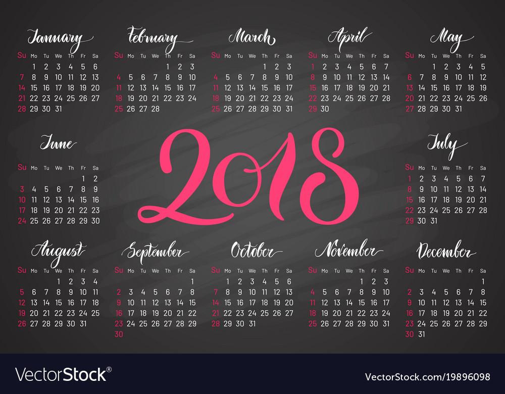 Pocket calendar 2018 in dark colors lettering vector image