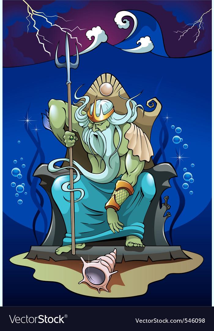 Poseidon the god of the sea vector image