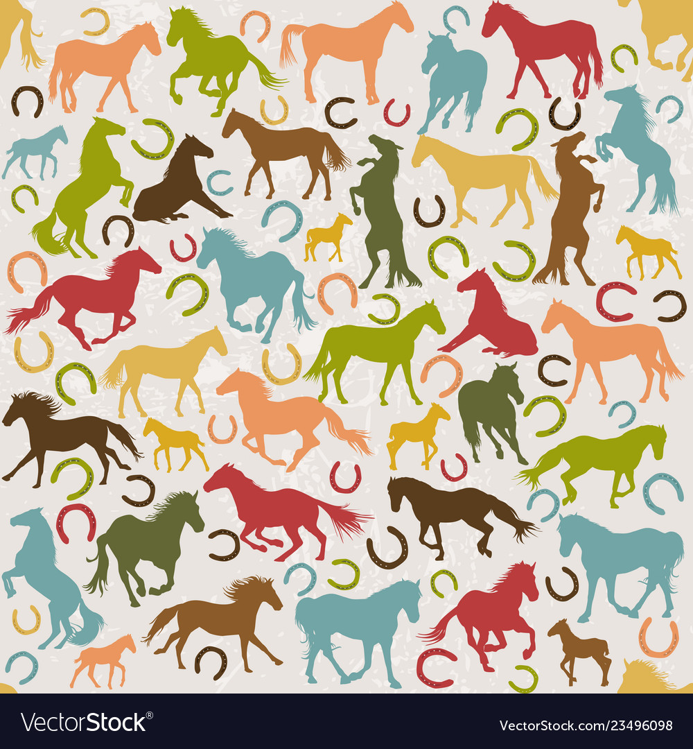 Seamless background with horses silhouettes and