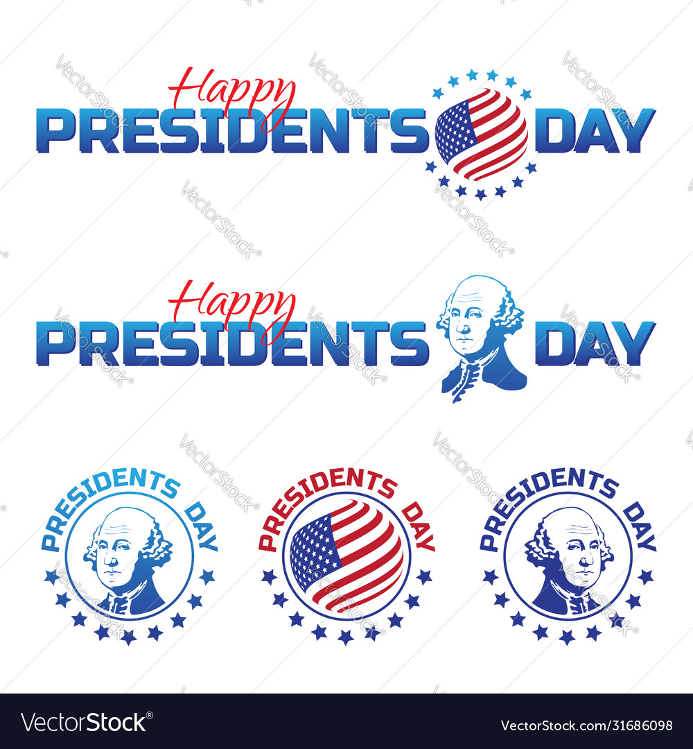 Set elements or logos to happy presidents day