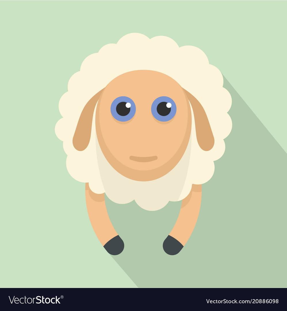 Sheep smile icon flat style