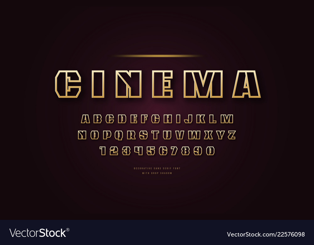 Stock golden colored hollow font