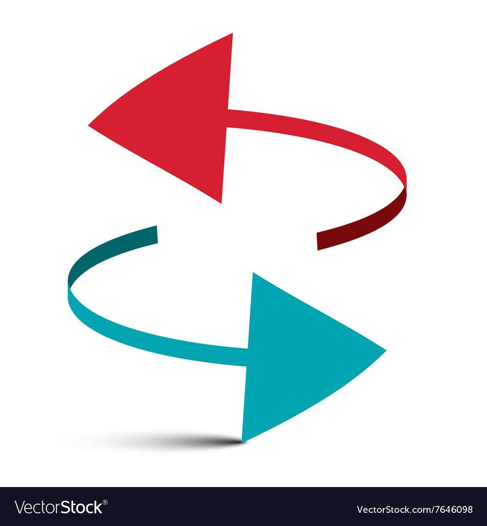 Two Arrows 3D Logo Symbol