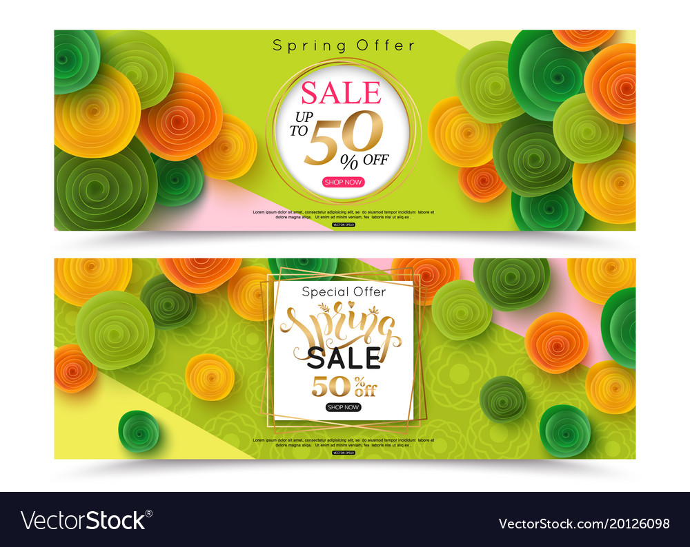 Two horizontal spring sale banner temlate for vector image