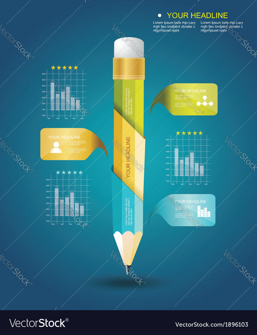 Business Design Template with Pencil ribbon vector image