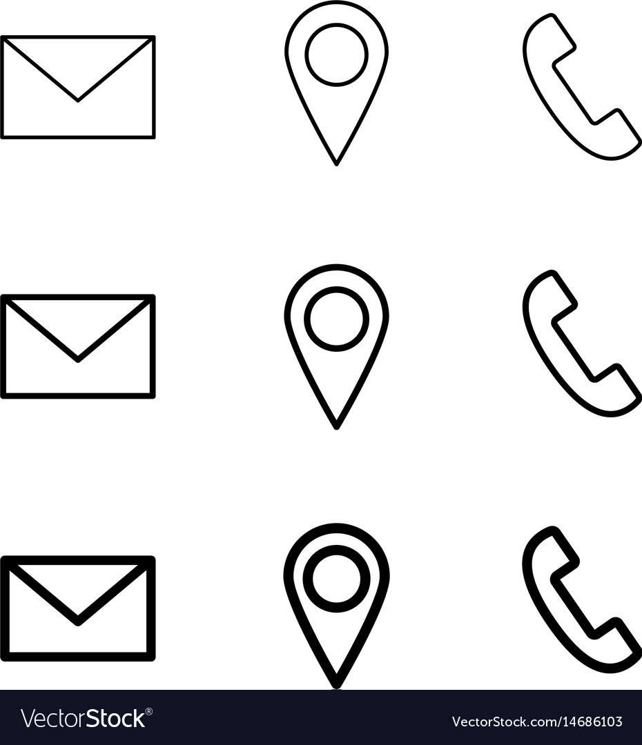 Contact line web icons mail telephone and
