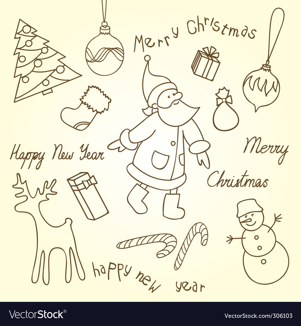Cute Christmas doodles Royalty Free