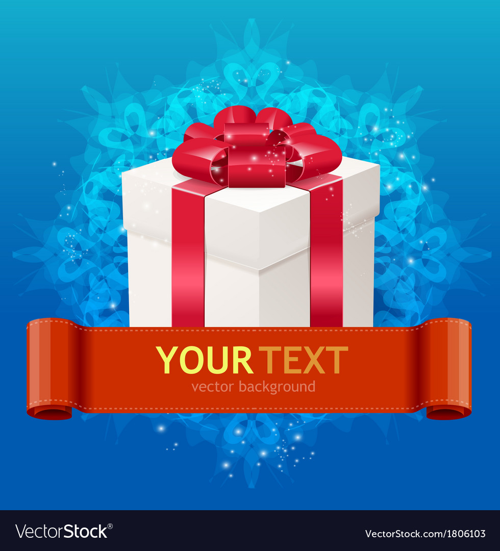 Gift box with bow and ribbon for text vector image