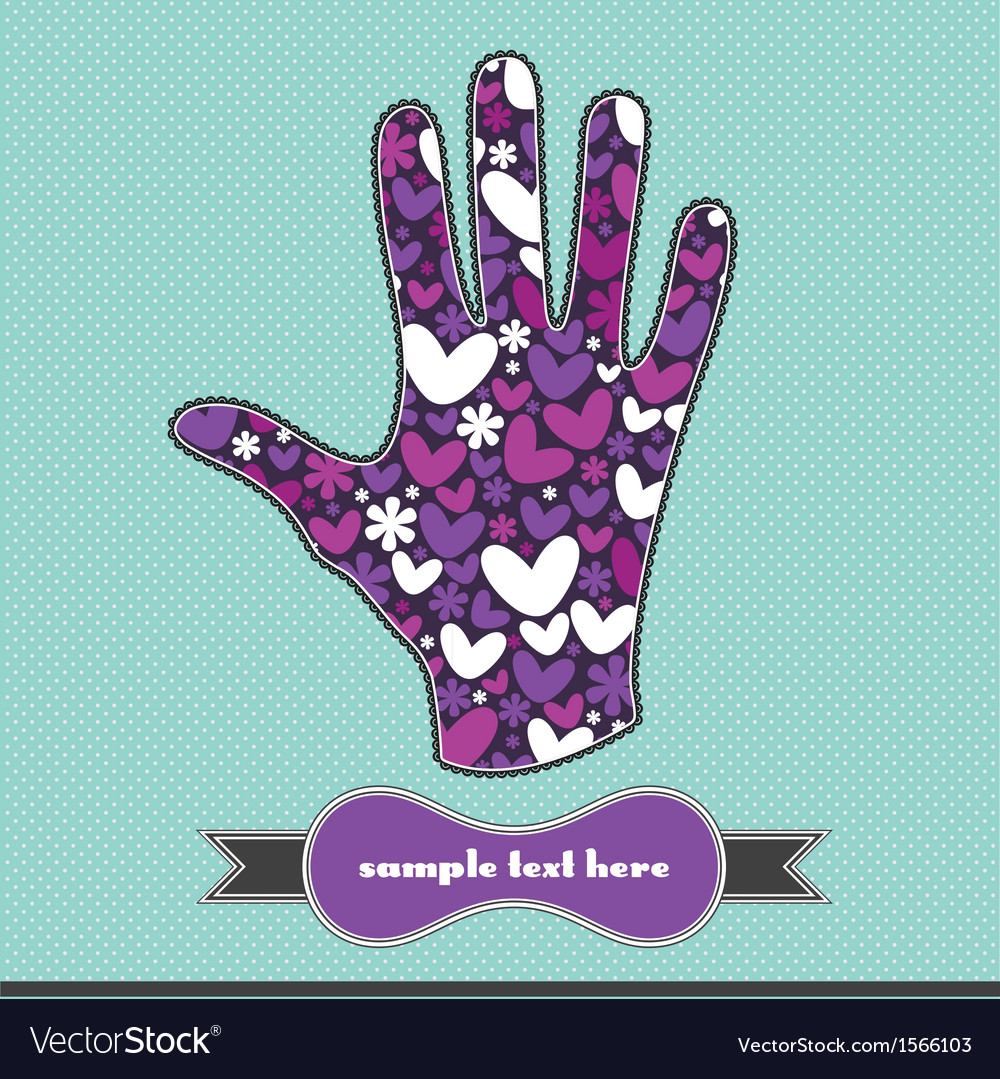 Hearts and flowers on the handprint royalty free vector hearts and flowers on the handprint vector image izmirmasajfo