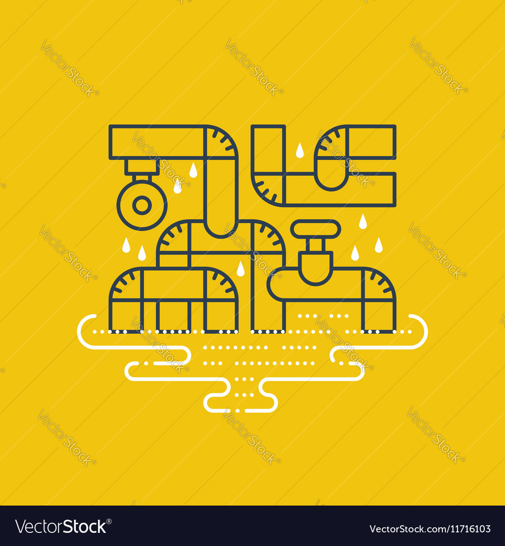Plumbing services concept dropping water from
