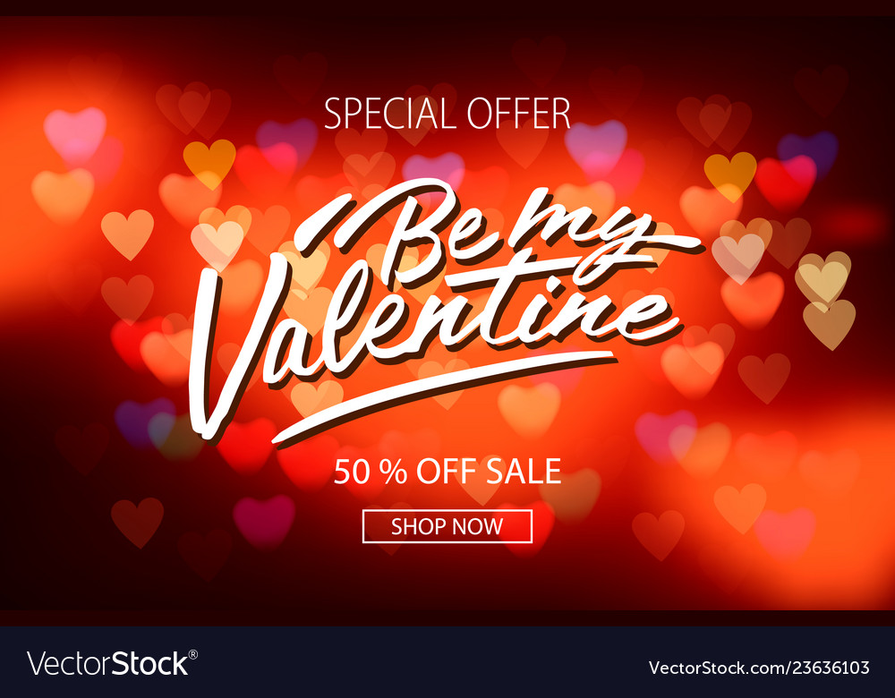 Valentines day sale poster with red hearts
