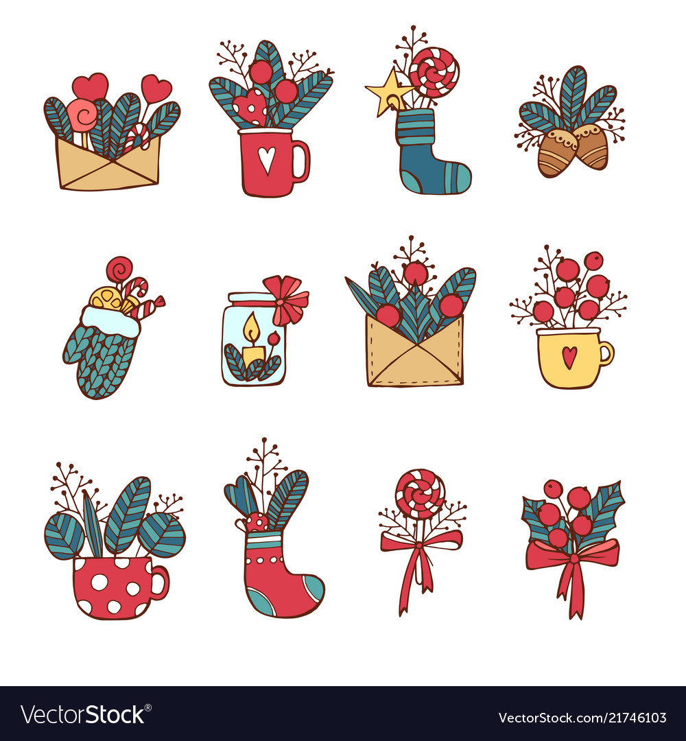 Winternew year christmas colored icons set many