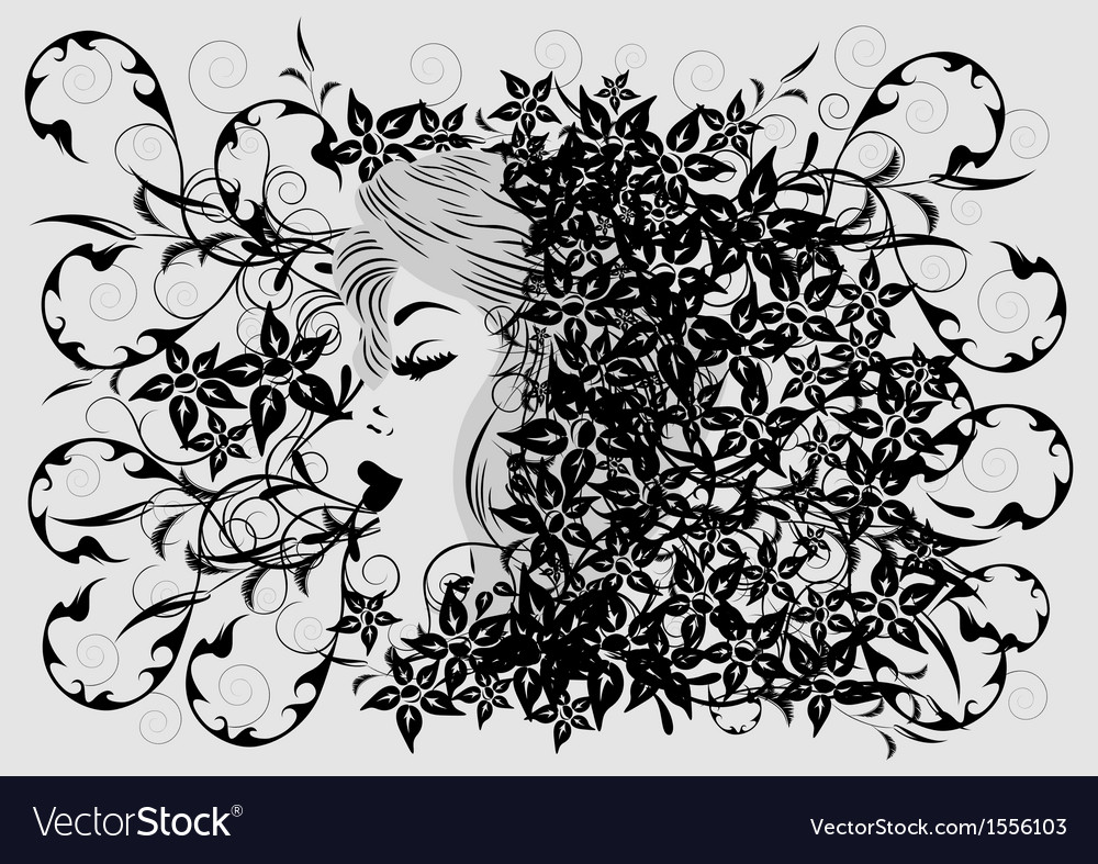 Womans profile on floral background vector image