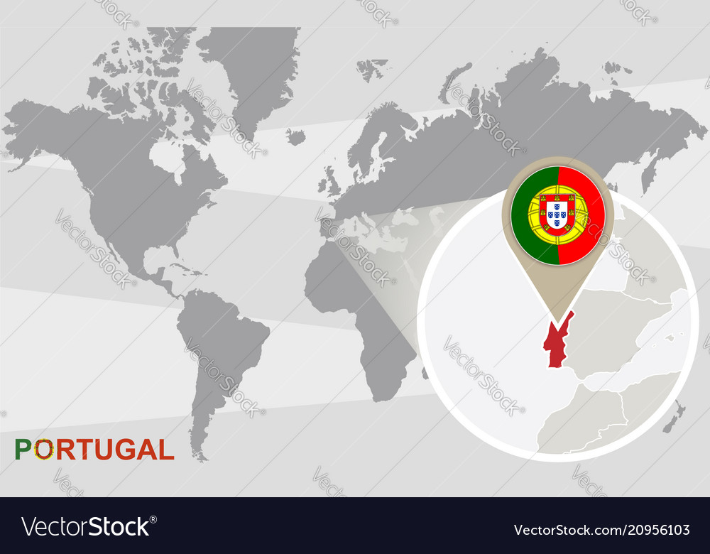 World map with magnified portugal Royalty Free Vector Image