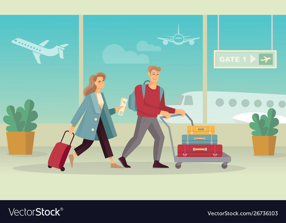 Young couple with luggage at airport flat